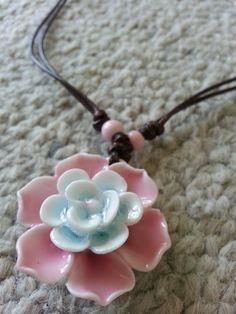 Ceramic pink green flower weave necklace Oriental Asian #TravelDazzle www.TravelDazzle.co.uk
