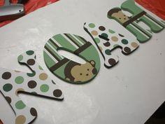 Mod Pod Pop Monkey - Hand Painted - Custom Nursery Letters.