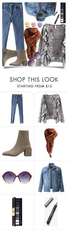 """""""Floral blouse"""" by dzenanlevic99 ❤ liked on Polyvore featuring LE3NO, John Lewis, Burberry, Forever 21, denim, jeans, grey, blouse and scarf"""