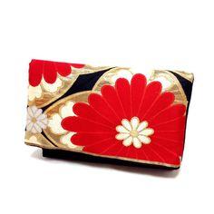 Fold over Clutch bag Kimono Obi  Bag Upcycled by SewEasyNewYork