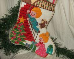 Vintage Christmas Stocking hand made Christmas stocking applique christmas…