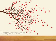 Vector drawings of a bare branch with Spring Cherry Blossom leaves.  ---------------------------------------------------------------------------