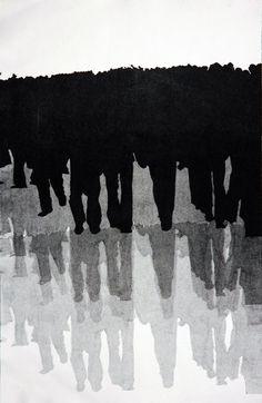"""Naz Rahbar - mono prints 1979"""", mono print, 13""""x20"""", 2008"""