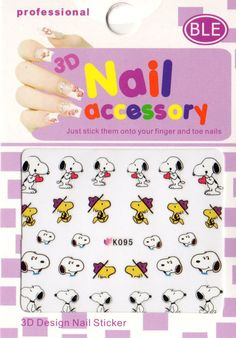 Snoopy Woodstock 3D Nail Art Stickers Halloween Xmas Party UK SELLER (K095)