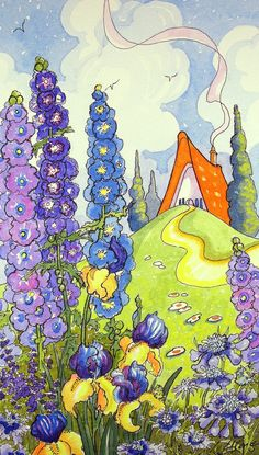 Juste une affaire de l'art de Summertime Blues Storybook Cottage série impression de peinture aquarelle originale