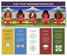 Symbolism of the Five Wisdom Buddhas - Lotus Happiness Buddhist Symbols, Buddhist Art, Tibetan Art, Tibetan Buddhism, Dharma Wheel, Vajrayana Buddhism, Buddha Wisdom, Gautama Buddha, Meditation Music