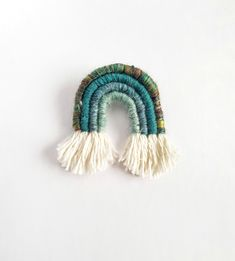 Macrame Teal Green Arch Pin, Hand-Woven Badge, Forest Pin, Cottagecore Rainbow Accessory by TheGentleCoast on Etsy