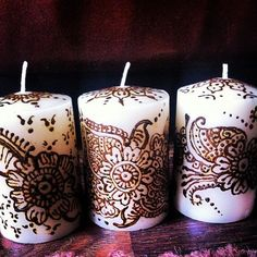 Set of 3 Beautiful Henna Candles from mayahennacandles on Etsy