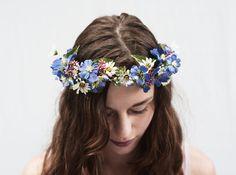 Blau Wildflower Krone Bridal Blume Krone von BloomDesignStudio