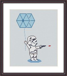 Star Wars Funny Cross Stitch PDF Pattern Stormtrooper and TIE fighter