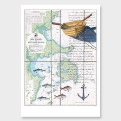 Kawau Bay Art Print by Justine Hawksworth - All Art Prints NZ Art Prints, Art Framing Design Prints, Posters & NZ Design Gifts Nz Art, Key To My Heart, Vintage World Maps, Art Prints, Gifts, Posters, Teaching, Design, Art Impressions
