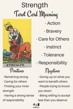 Strength Tarot card meaning. An illustration from the Major Arcana with the Rider Waite Tarot deck. Post by divination and fortune-telling with Tarot for love, romance and relationships. Ideal for readers who are just learning the interpretations.