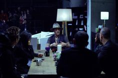 Depp gets serious at the filming of a House of Creativity TV show with Chinese creatives