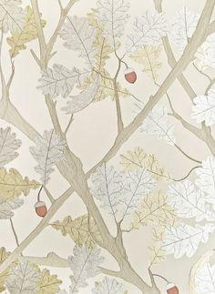 Feuille de Chene Wallpaper Light linen wallpaper with metallic silver and gold oak tree illustration with orange acorn.