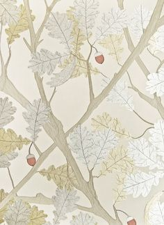 Feuille de Chene Wallpaper Light linen wallpaper with metallic silver and gold oak tree illustration with orange acorn.