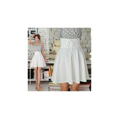Lace-Up A-Line Skirt found on Polyvore featuring polyvore, fashion, clothing, skirts, women, high waisted a line skirt, retro skirt, a-line skirt, high rise skirts and layered skirt