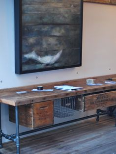This would make a great work table for me. Reclaimed wood work station for office