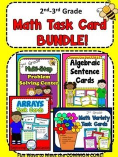 THE PREVIEW SHOWS IT ALL! This is a fun and bright set of 216 math task cards for your math center that cover essential skills laid out by the Common Core. Your students will love the cute theme on the ARRAYS, MULTI-STEP PROBLEM SOLVING, ALGEBRAIC 2nd GRADE (no variable, but implied by the blank), and VARIETY PACK cards!