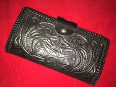 "Western Tooled Leather Ladies Wallet 7.5""x3.5"" Black #Unbranded #Clutch"