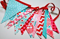 Red Aqua & Pink Woodland owl bunting banner by GiddyGumdrops Owl Bunting, Bunting Garland, Red And Teal, Red Turquoise, Pink Party Decorations, Aqua Wedding, Red Cottage, Pink Parties, Big Girl Rooms