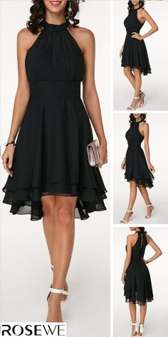Black Layered Cutout Back Sleeveless Chiffon Dress - - Upgrade your wardrobe a. - Black Layered Cutout Back Sleeveless Chiffon Dress – – Upgrade your wardrobe and try a new st - Spring Dresses, Day Dresses, Spring Outfits, Dress Outfits, Outfit Summer, Winter Dresses, Wedding Dresses, Bride Dresses, Mini Dresses
