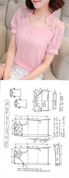 Sewing Blusas Blusa manga fofa e meia gola Dress Sewing Patterns, Blouse Patterns, Clothing Patterns, Blouse Designs, Pattern Sewing, Pants Pattern, Neck Pattern, Diy Clothes, Clothes For Women