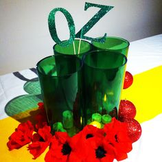 My Wizard of Oz table centre with handmade crepe paper Poppies <3 Birthday Weekend Fun