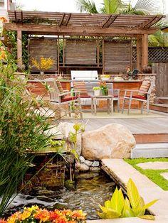 terrasse gartengestaltung teichbau bambus jalosien