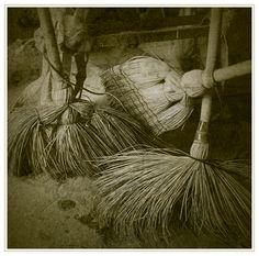 Witches Parking II by on DeviantArt Wicca, Magick, Brooms And Brushes, Whisk Broom, Witch Broom, Bride Of Frankenstein, Vintage Witch, Kitchen Witch, Shades Of White