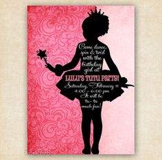 Ballerina Tutu Silhouette Birthday Invitation - Printable - DIY - Other Colors Available