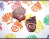 Sea Shells Hand Carved Rubber Stamps
