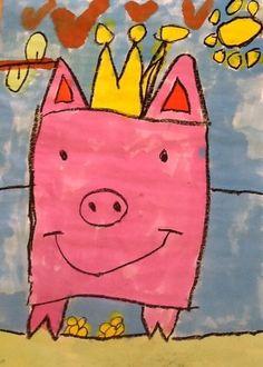 * Schattige varkens, wasco en ecoline Teken met zwarte wasco een varken (vierkant) op een groot vel papier (A3). Verf het varken met roze ecoline