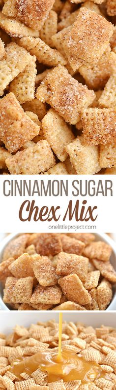 Cinnamon Sugar Chex Mix: Easy, Delicious and Insanely Addictive! - Appetizers - This cinnamon sugar chex mix is SO GOOD. It& super easy to make, and the sweet buttery crunch - Snack Mix Recipes, Yummy Snacks, Yummy Food, Snack Mixes, Chex Recipes, Recipies, Healthy Snacks, Köstliche Desserts, Dessert Recipes
