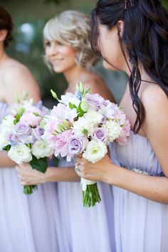 Purple bridesmaids and bouquets