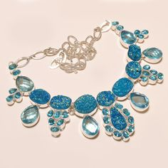 Statement Necklaces – Titanium Druzy ,Blue Topaz Silver Gemstone Necklac – a unique product by IndianCraftPalace on DaWanda