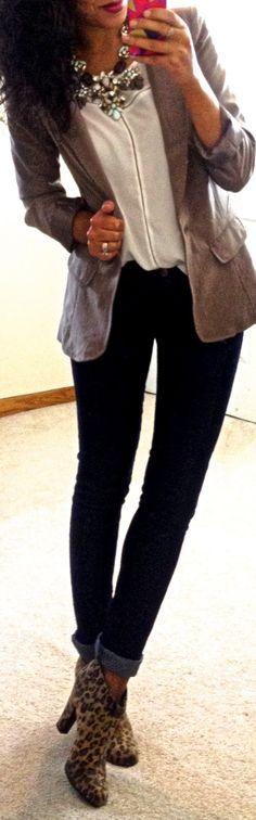 Cuffed skinny jeans, leopard print booties.