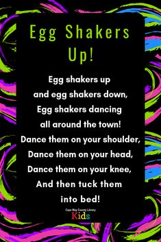 Egg shakers up! Our absolutely favorite egg shaker rhyme – a storytime must! Head over to the - Kids education and learning acts Kindergarten Music, Preschool Music, Music Activities, Teaching Music, Rhymes Songs, Kids Songs, Egg Shakers, Toddler Storytime, Movement Songs