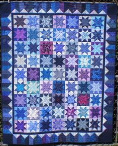 Scrappy Bue Star Quilt
