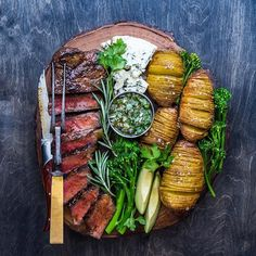 Halloween = hand out candy, crush a steak, watch Sleepy Hollow. Prescott Family Traditions. Happy Halloween friends - you're awesome. (Steak, Hasselbacks, & Chimichurri Recipes in the cookbook (link in profile)#EatDelicious