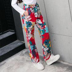 Kimono Vintage Floral Printed Wide Leg Casual Pants | harajuku | tokyo | japan | japanese | harajuku street fashion | street style | harajuku fashion | tokyo fashion | style | tokyo style | shibuya | shibuya style | shibuya fashion | 原宿|東京|日本| japanese |ハラジュクストリートファッション|ストリートスタイル|原宿ファッション|東京ファッション|スタイル| |渋谷| |渋谷スタイル| |渋谷ファッション|