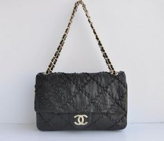 Chanel 2.55 Bags 49721 Crackled Black Leather Gold Chain