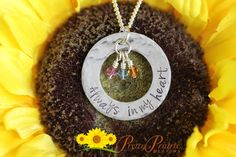 """Always in my Heart Necklace: Hand stamped stainless steel washer disc with """"Always in my heart"""" stamped on the outer ring with birthstone crystals.   #alwaysinmyheart #silvernecklace #circlenecklace #washernecklace #birthstonenecklace #mothersdaynecklace"""
