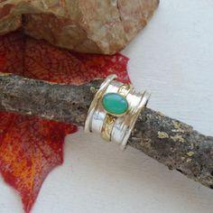 Chrysopras, Bandring, teilvergoldet, Ring, Ø 18,5 mm, 925 Sterling Silber in Uhren & Schmuck, Echtschmuck, Ringe | eBay!