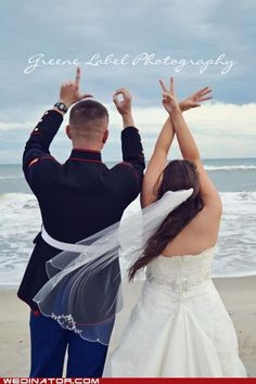 Wedding pic...cute...but I would uncrose her arms so they were the same as his :)
