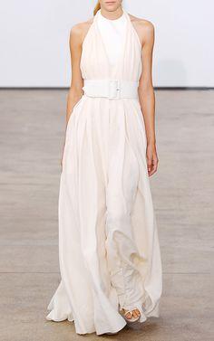 Georgette Cloque Twist Halter Gown With Wide Belt by Derek Lam for Preorder on Moda Operandi