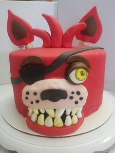 Inspired By Five Nights At Freddy's This cake was inspired by Five Nights at Freddy's Foxy Face. Fnaf Cakes Birthdays, Homemade Chocolate Buttercream Frosting, Flavored Marshmallows, Cake Central, Cake Business, Five Nights At Freddy's, Quick Easy Meals, Catering, Gingerbread