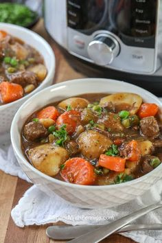This instant pot beef stew is unbelievably mouthwatering. Beef chunks are pressure cooked with other ingredients like peas, potatoes, carrots, and onions. Instapot Beef Stew, Instant Pot Beef Stew Recipe, Easy Beef Stew, Barley Soup, Beef Barley, Pressure Cooker Recipes, Slow Cooker, Pressure Cooking, Soup And Salad