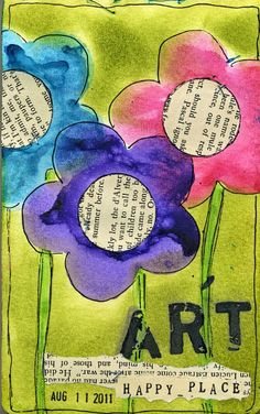 Try a collage with old newspaper, drawing and paint...