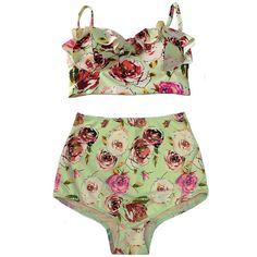 Mint Midkini Top and Green Rose High Waisted Waist High-waist... ($40) ❤ liked on Polyvore featuring swimwear, bikinis, bathing suits, lingerie, swimsuits, 2 piece swimsuits, retro swimsuit, high waisted two piece bathing suit, high waisted bikini and swimsuits two piece