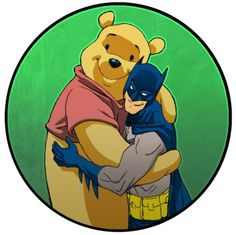 Batman hugs it out with Winnie the Pooh. I'm not sure why this exists, but it is wondrous to behold.
